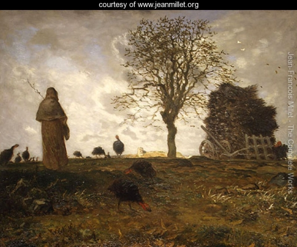 Autumn-Landscape-With-A-Flock-Of-Turkeys